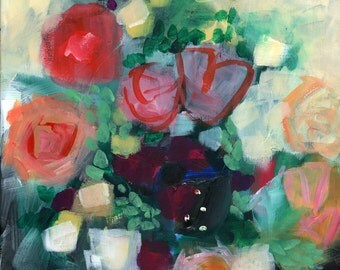 Floral Art Print, Flowers, Abstract Art Print, Bouquet, Modern Art, Bohemian, Expressionist, Bold, Colorful, Fun, Garden