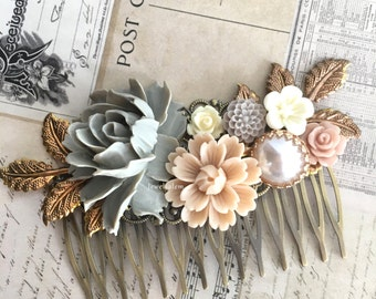 Romantic Wedding Comb Rustic Bridal Comb Mocha Soft Blush Hair Slide Gray Mauve Tan Taupe Dusty Pink Vintage Style Hair Pin for Bride