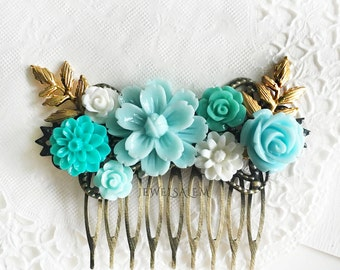 Bridal Hair Comb Seaform Blue Mint Pale Aqua Light Turquoise Pastel Shabby Chic Wedding Headpiece Marie Antoinette Victorian Tea Party WR