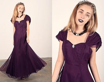 Vintage 80s Edwardian Dress Bow Princess Purple Maxi Dress