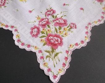 Handkerchief, Vintage Hankies, Handkerchiefs, Print Hankie, 1940s, Pink, Carnations, Hankerchief, Hankie, All Vintage Hankies