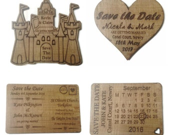 Save The Date Wedding Invites Wooden Castle Heart Calander Letter Personalised