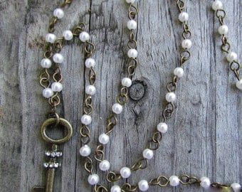 Brass Key Pearl Beaded Necklace