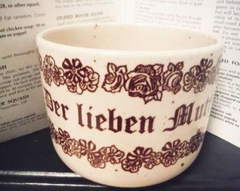 Der Lieben Mutter coffee mug German dear mother mom floral vintage stoneware brown and cream large
