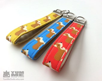 Corgi Key Chain Wristlet Key Fob Yellow Blue or Red (Made to Order)