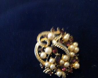 Faux Pearl and Amethyst Brooch