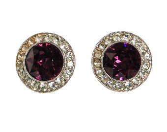 Sarah Coventry Purple Rhinestone Earrings, Round, Button Shape, Silver Tone, Clip On, Designer Vintage Jewelry