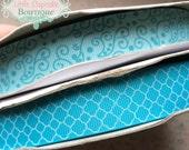"Turquoise Filigree or Quatrefoil Glitter Ribbon {Choice} 2 or 5 Yards 7/8"" US Designer Ribbon- Little Cupcake Boutique"