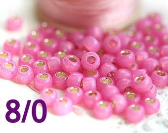 Pink TOHO Seed beads, size 8/0, Silver Lined Milky Mauve, N 2106, round, japanese glass - 10g - S857