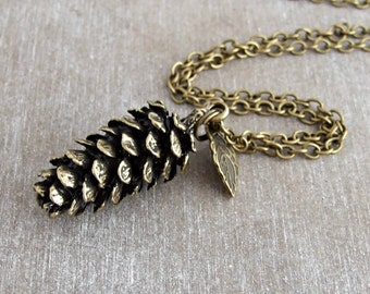 Large Pine Cone Necklace .. bronze pine cone pendant, rustic jewellery, fir cone necklace, layering necklace, autumn, fall