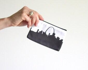 St. Louis City Clutch Purse - 4x6 - Skyline Silhouette - Lipstick Coin Purse