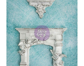 Prima Shabby Chic Treasures Collection Ingvild Bolme Resin Cherub Fireplace Embellishment