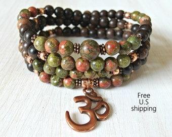 Rebirth, Unakite,108 Mala, wrap bracelet or necklace, Prayer beads, Yoga bracelet, 108 necklace, Reiki Charged, Om Mala, wrist mala, Rosary
