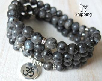 108 mala, black moonstone, Om, Mala Bracelet or Necklace,Reiki charged, Buddhist Rosary,Prayer beads, Gemstone, wrist mala, Lotus, buddha