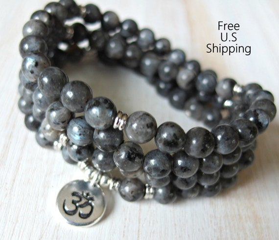 108 mala black moonstone Om Mala Bracelet or NecklaceReiki