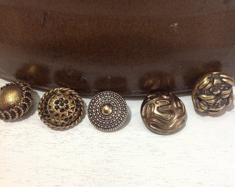 Set of 6 flat back gold tone buttons