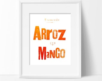 8.5 x 11 print- Arroz con Mango—Original Limited-Edition Letterpress Print