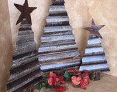 Rustic corrugated tin Christmas trees