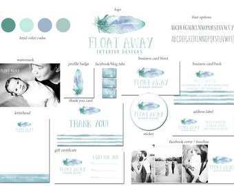 Premade Custom Marketing Package for Photographers & Small Crafty Boutiques Logo Business Card Branding Package Hand Drawn WatercolorFeather