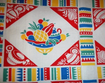 Vintage 1950's Mexican Fiesta Tablecloth
