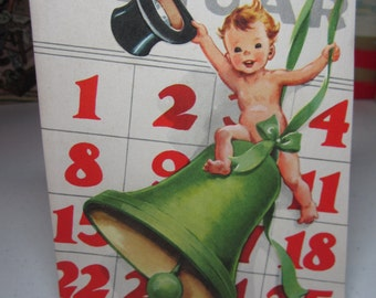 Adorable 1940's-50's unused embossed Whitman Happy New Year greeting card cute toddler new year boy with top hat swinging on green bell
