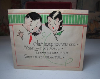 Colorful 1920's-30's art deco humorous parchment paper get well card deco man and woman on a telephone