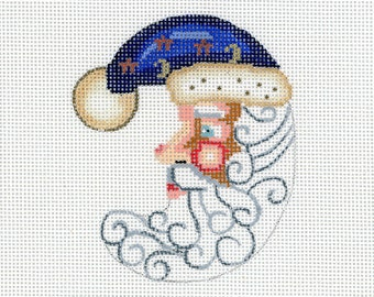 Needlepoint Handpainted Santa Ornament - Blue Half Moon