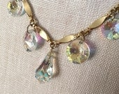 Vintage 1960s Sarah Coventry Necklace Sparkling Aurora Borealis Dangle Teardrop
