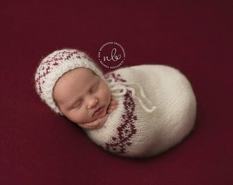 Newborn Swaddle Sack, Photo Prop, Cream & Red, Christmas Prop