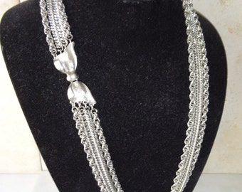 Vintage Silver Toned Necklace Multi Strand Chain Multistrand Statement Runway Necklace