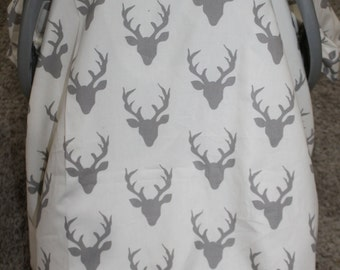 Baby Carseat Tent -White with Gray Buck Carseat Canopy, Tent, Deer, Antler