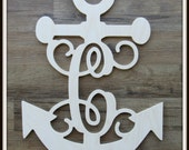 "Anchor Door Hanger with Letter - Unpainted Wood - 22"" size - Door or Entryway Decor - Wood Letter - Wall Hanging - Monogram"