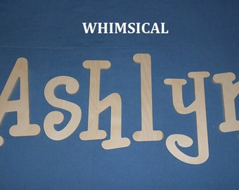 """SALE :) Wall Letters - Unpainted Wood - Whimsical - plus other Fonts - Gifts and Decor for Nursery, Home, Playrooms, Dorms - 10"""" Size"""