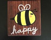 Wood Sign Wall Decor - Bee Happy - 4 x 3.5