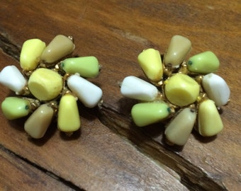 Vintage 50's Lime Green, Yellow, White & Tan Cluster Clip On Earrings