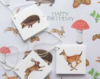 Woodland Gift Wrap - Wrapping Paper - Gift Tags - Recycled Paper - Happy Birthday