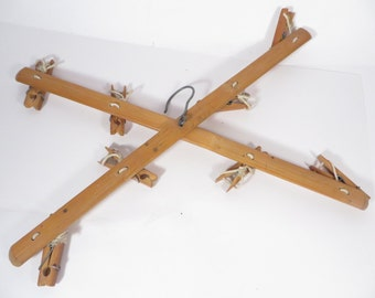 Mid Century Clothespin Wood Hanger - Wood Hanger with Clothespins