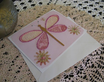 Pink Beaded Dragonfly Card