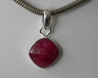 """Ruby Pendant Handmade Natural Red Ruby Precious Gemstone Pendant 1 1/4"""" Sterling Silver Pendant Blood Red Take 20% Off Women's Ruby Jewelry"""