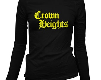 Women's Crown Heights Gothic Brooklyn Long Sleeve Tee - S M L XL 2x - Ladies' Crown Heights T-shirt, NYC, New York City - 3 Colors