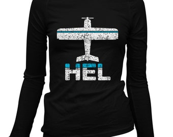 Women's Fly Helsinki Long Sleeve Tee - HEL Airport - S M L XL 2x - Ladies' Helsinki T-shirt, Finland, Finnish, Suomi - 2 Colors