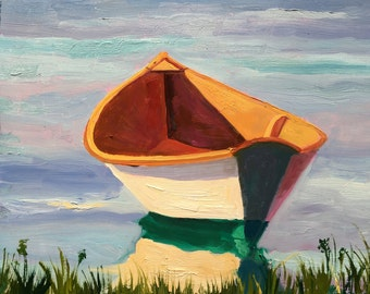 Original Oil Painting Row Boat White Dinghy