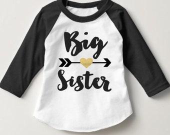 Big Sister Shirt Baby Announcement Shirt Girl Sibling Shirts  Baby Announcement Shirt tribal sister shirt Custom Big Sister Raglan Hipster