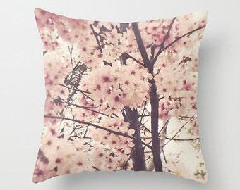 Pink Blossom Sofa Pillow, Flower Accent Pillow, Fleur Detail Throw Pillow Cover, Tropical Cushion 18x18 22x22 Decorative Pillow Cushion