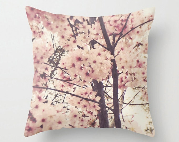 Pink Blossom Sofa Pillow, Flower Accent Pillow, Fleur Detail Throw Pillow Cover, Tropical Cushion 18x18 22x22 Decorative Pillow Cushion