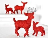 Custom Order for Brianna - Custom Deer Family Set of 4 in Red Glitter with Metallic Silver Accents