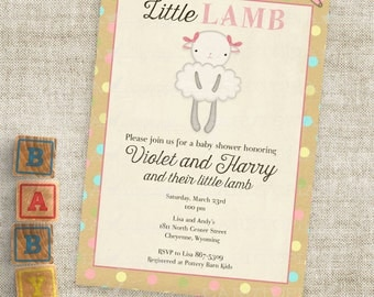 Little Lamb Pink and Kraft Paper Baby Shower Invitations Baby Girl Lamb Custom Invites with Professional Printing Option