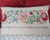 Embroidered Linen Pillow Folk Floral Traditional Decorative Pillow
