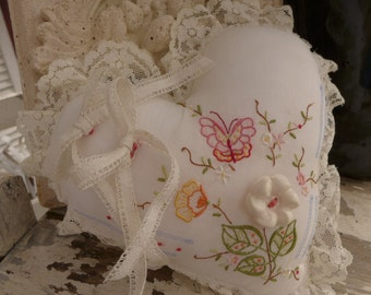 Embroidered Ring Pillow Heart Shaped Pillow