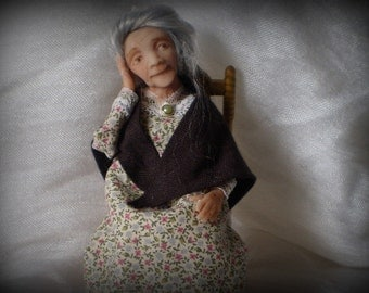 Ooak miniature granny doll with bunions on feet for Dollhouse 1:12 scale